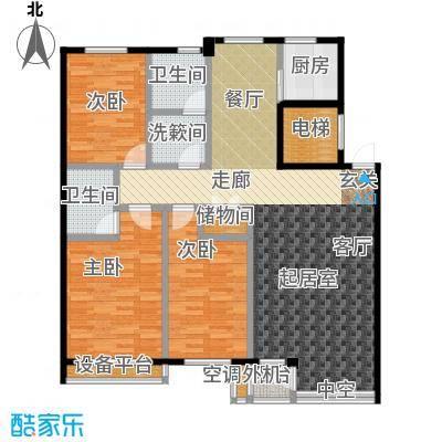 金海湾2期128.00㎡C户型 三室二厅户型3室2厅1卫