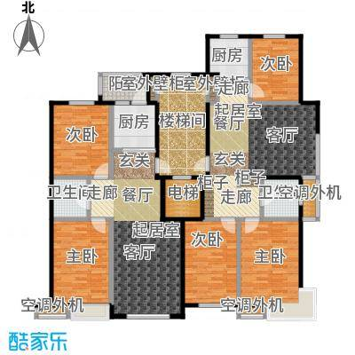 香林水岸户型5室2卫2厨