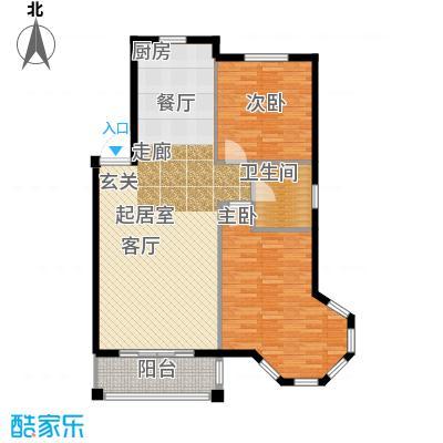 金湾又一城(一期)二室二厅一卫 面积96平方米户型