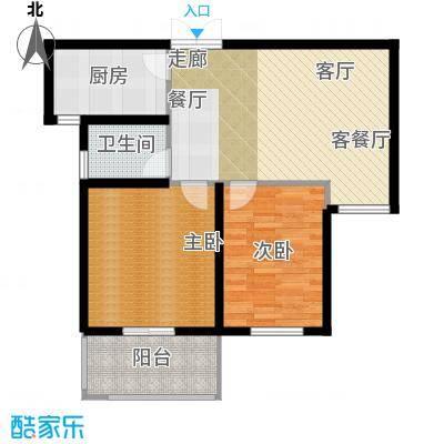 元泰清华园三期户型2室1厅1卫1厨