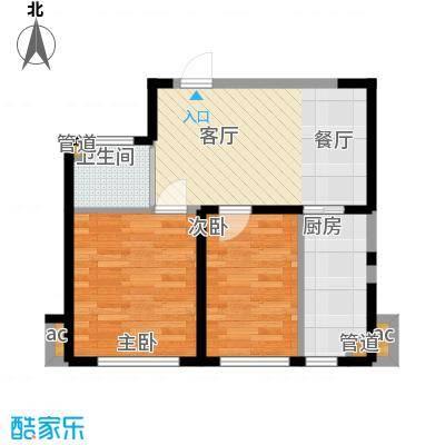 恒隆通潭富苑两室两厅一厨一卫69.38㎡户型