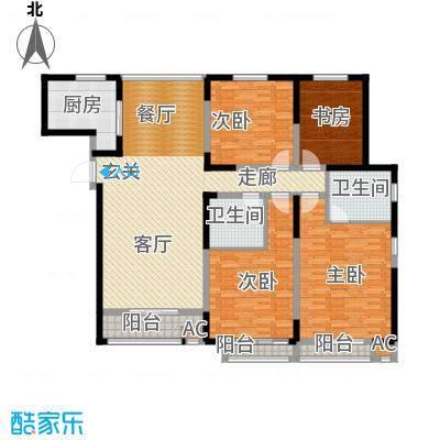 证大多伦多花园H户型四室两厅两卫163平户型