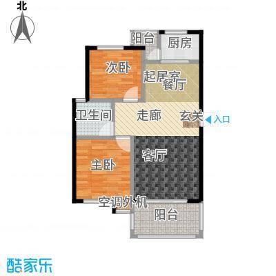 海南大溪地住宅小区78.09㎡A户型平面图户型2室2厅1卫