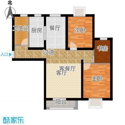 大连海湾城85.81㎡户型3室2厅1卫