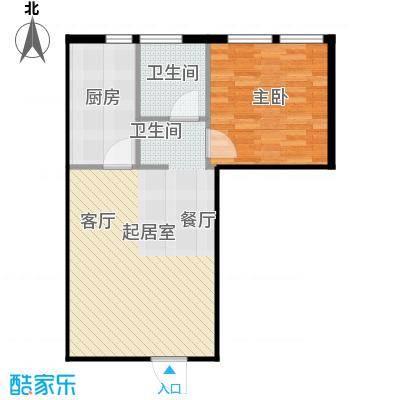 圣地秋实59.00㎡4、5号楼B2户型一室一厅一卫一厨59平米户型1室1厅1卫