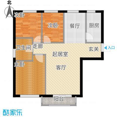 岭湾峰尚95.00㎡D1户型 3室2厅1卫户型