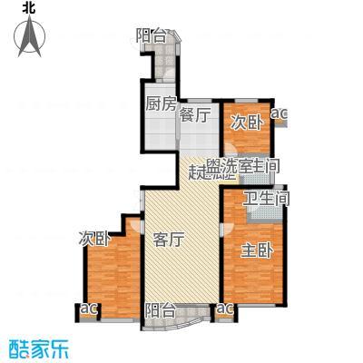 瑞仕尚城二期和平道132.00㎡奢阔三居户型3室2厅2卫