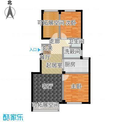 金海湾2期87.62㎡E户型 二室二厅一卫户型2室2厅1卫