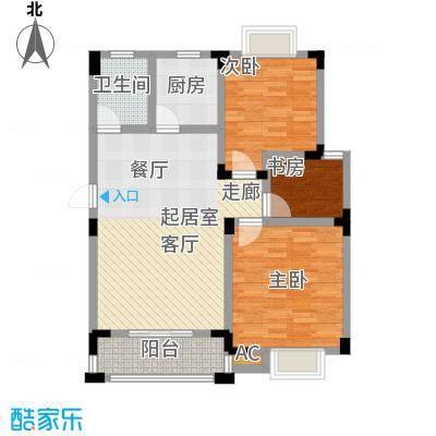 世纪绅城86.38㎡E户型3室2厅1卫