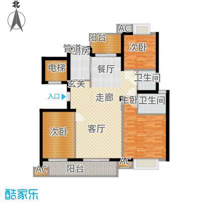 H三室两厅两卫125平米户型