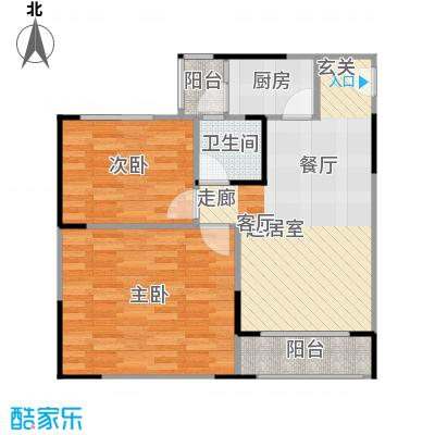 两江铂金时代26.64㎡单体楼标准层A8户型2室1卫1厨