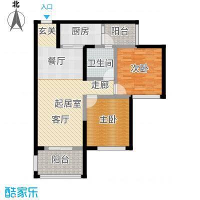 金科公园王府王子公馆D2栋9号房+院馆户型2室1卫1厨