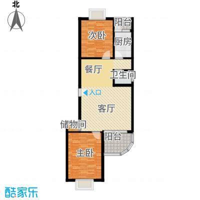 龙腾随园83.88㎡D-2B户型2室2厅1卫