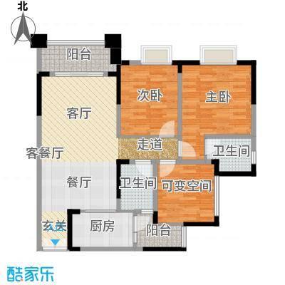 涪陵红星国际广场A3-3户型2室1厅2卫1厨