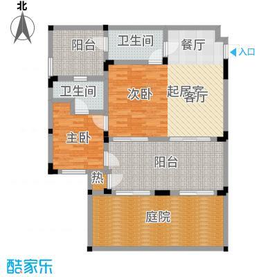 隆鑫花漾的山谷三期76.00㎡F3户型 建筑面积76㎡ 两室两厅两卫户型2室2厅2卫