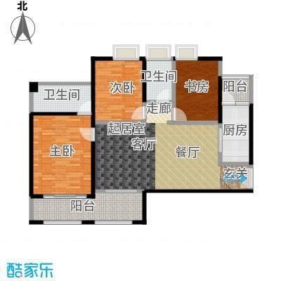 花滩国际新城丁香郡B4三居室户型3室2卫1厨
