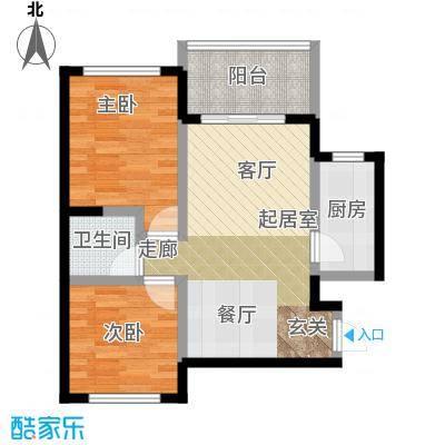 丰都龙景花园60.00㎡户型2室1卫1厨