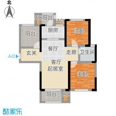 龙湖湘风星城91.63㎡F3户型2室2厅1卫