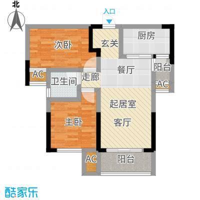 龙湖湘风星城76.53㎡F1户型2室2厅1卫