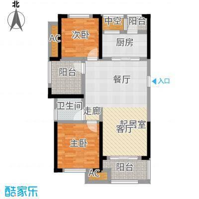 龙湖湘风星城88.49㎡F2户型2室2厅1卫