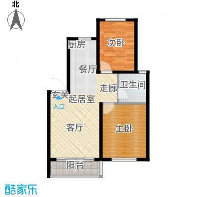 华茂依山君庭7号楼两室两厅一卫74.08平方米户型2室2厅1卫