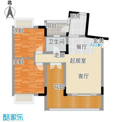 科而士・天辰美苑(一期)二房二厅一卫76.02平方米户型