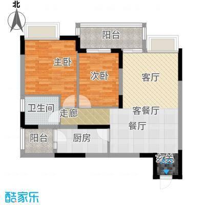 朵力名都(三期)房型户型2室1厅1卫1厨