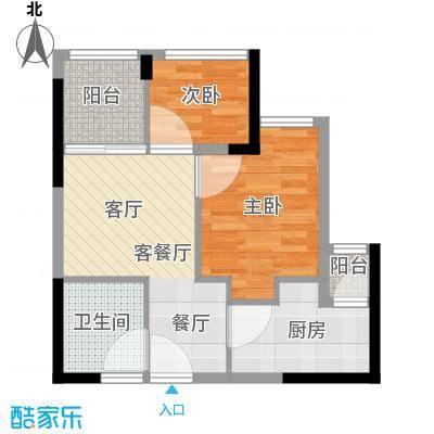 东原D8公馆户型2室1厅1卫1厨