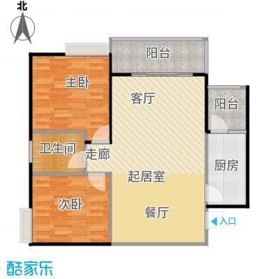 骏逸第一江岸孔雀湾二期11号楼A户型2室1卫1厨