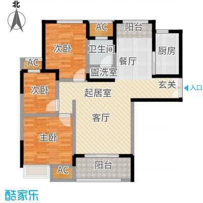 旭阳台北城敦美里板式小洋楼B-4户型3室1卫1厨