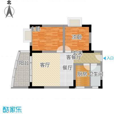 绿洲龙城(二期)72.06㎡房型: 二房; 面积段: 72.06 -72.06 平方米;户型