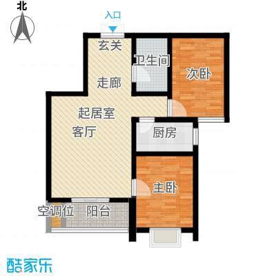 左岸枫桥二室一厅一卫 89.3平米户型