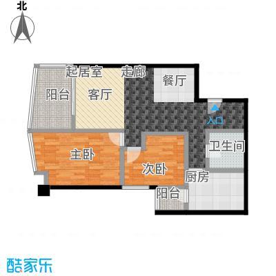 都市风采・泊景轩(二期)73.00㎡房型: 二房; 面积段: 73 -75.2 平方米;户型