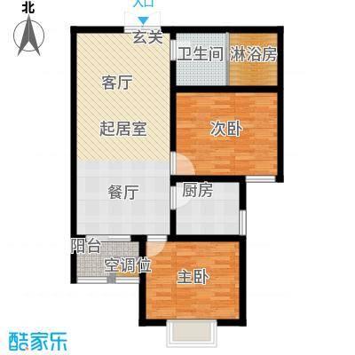 左岸枫桥二室二厅一卫 86平米户型
