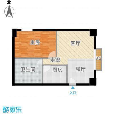 中华大厦59.86㎡一室一厅一卫户型