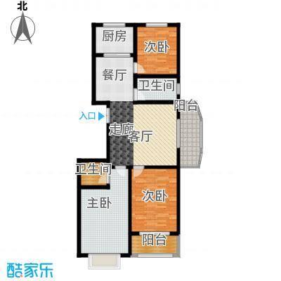 天润东方绿城三室两厅一卫户型