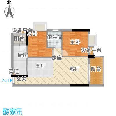 华生加洲阳光83.04㎡D栋2-16层03单位户型