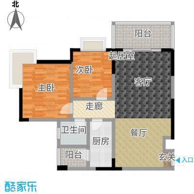 凤天锦园(二期)房型户型2室1卫1厨
