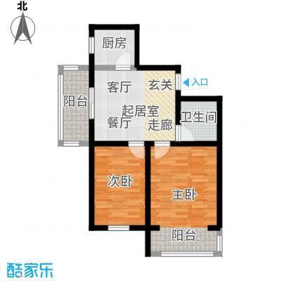 翔达・江湾御景两室一厅一卫85.13㎡户型2室2厅1卫-T