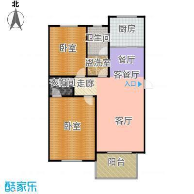 东辰清风港107.00㎡A户型2室2厅1卫