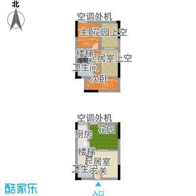 同景跃城一期3-5号楼I2跃层户型2室2卫1厨