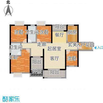 天麓尚层13栋B户型4室2卫1厨