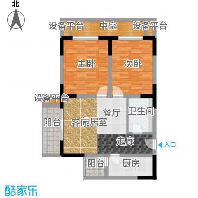 渝洲新城(二期)56.55㎡房型: 二房; 面积段: 56.55 -83.58 平方米;户型