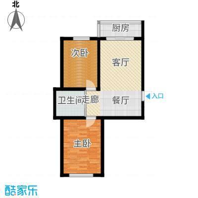 607地质家园F户型建筑面积72-82㎡户型2室1厅1卫
