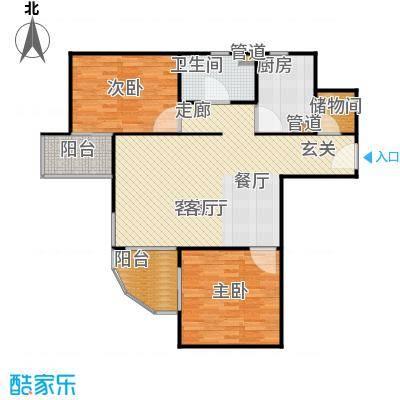 雍和家园100.93㎡二室二厅一卫户型