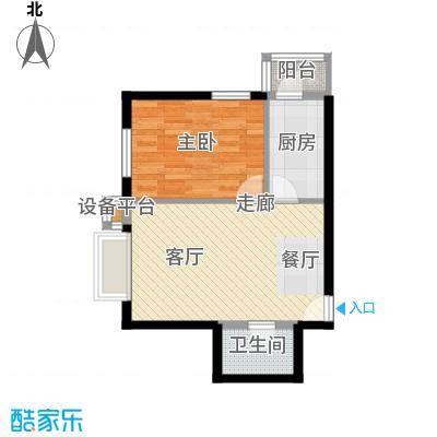 西山枫林61.26㎡一室两厅一卫户型