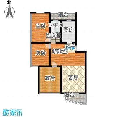观山小筑(燕水佳园)107.28㎡E户型二室二厅一卫户型