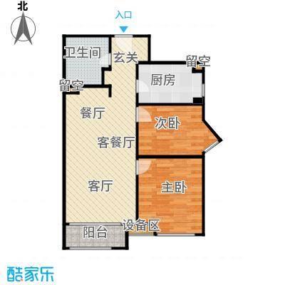 华润公元九里-九里公馆101.00㎡H户型 两室两厅一卫户型2室2厅1卫