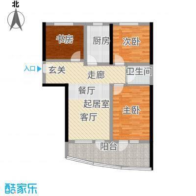 山海同湾97.03㎡15号楼D户型 两室两厅一卫户型2室2厅1卫