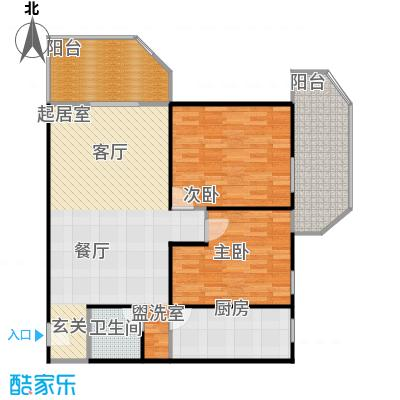 三秀涵雅居105.70㎡两室一厅一卫户型